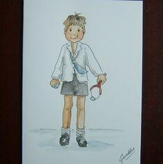 schoolboy cartoon blank greetings card art painting ref 550 £1.50