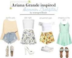 A few super cute Ariana inspired outfits for the summer! Hopefully this helps some of you guys :) -Chloe xx JK2 shirts top / Charlotte Russe lace crop top / Topshop clothing / Highwaisted shorts / High-waisted jean shorts / Topshop playsuit romper, $40 / Blue skirt, $30 / Strap flat sandals, $110 / SPURR high heel peep toe shoes, $47 / Converse canvas sneaker, $76 / Flat shoes