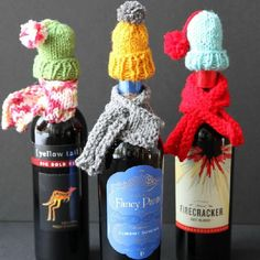 An adorable hostess gift made from scrap yarn, perfect for winter gift-giving.