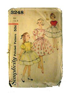 50s Girl's Tea Party Dress Sewing Pattern  Girl by OnceUponAPoodle, $8.00