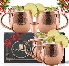 Moscow Mule Copper Mugs with 4 Straws and Shot Glass - Set of 4 HandCrafted Food Safe Pure Solid Copper Mugs - Bonus Highest Quality Copper Shot Glass and 4 Copper Straws - Attractive Box Moscow Mule Drink, Moscow Mule Recipe, Copper Moscow Mule Mugs, Solid Copper Mugs, Shot Glass Set, Mugs Set, Safe Food, Kitchen Dining, Cocktail