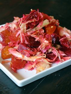 Cabbage Beet Coleslaw  Recipe courtesy of Michael Jones serves four  4 beets, each about the size of a softball  Olive oil  Kosher salt  Fresh black pepper  1 small head of cabbage, thinly sliced  1/4 cup cider vinegar   1 tablespoon Dijon mustard   Grated orange peel from one orange  2 tablespoons honey   1/2 cup olive oil   2 teaspoons caraway seeds