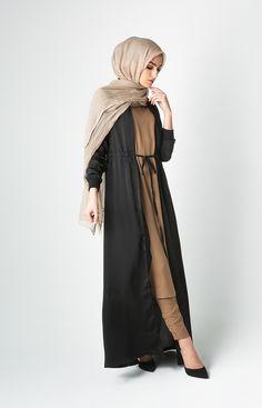 Drawcord Kimono - Black Kimono with elegant draw cord detail, pairs well with our co-ordinating Slips & Trousers. Muslim Women Fashion, Arab Fashion, Islamic Fashion, Modest Outfits, Modest Fashion, Modest Clothing, Long Kimono Cardigan, Hijabi Girl, Islamic Clothing