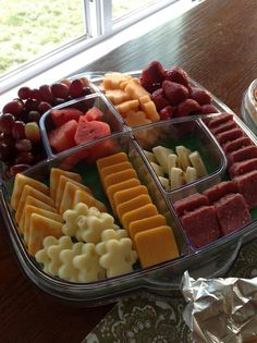 Fruit and cheese tray. Cool and Serve Square Tray, Fruit & Cheese Cutters
