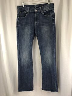 "7 for All Mankind A Pocket PKT Bootcut JTA520525 Blue Denim Jeans 33 x 34"" #7ForAllMankind #BootCut"