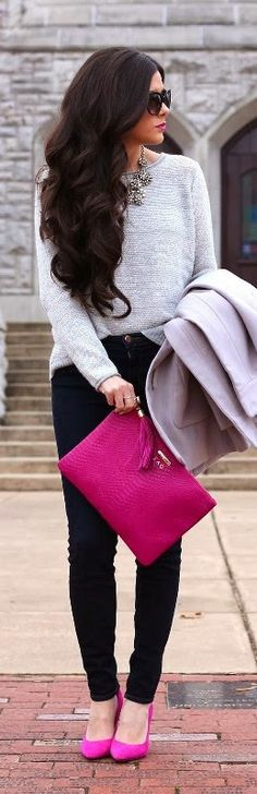 Pink Handbag and Shoes. Black Pants, Lovely Grey Shirt and Jacket. Very Stylish