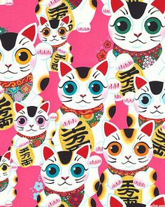 Indochine - Fuku Kitty - Quilt Fabrics from www.eQuilter.com