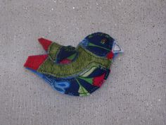 Stuffed Bird Brooch in green, blue and red