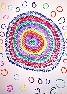 students' art inspired by The Dot by Peter H. Reynolds. Great art lesson activity for kids.
