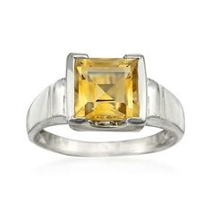 3.75 Carat Citrine Ring In Sterling Silver
