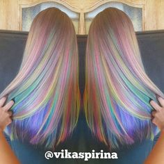Rainbow hair color by Vika Spirina Pastel hair Mermaid hair Unicorn hair hair… Pelo Multicolor, Opal Hair, Coloured Hair, Cool Hair Color, Wild Hair Colors, Hair Color For Kids, Mermaid Hair Colors, Unicorn Hair Color, Dream Hair