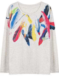 Grey Long Sleeve Feather Print Loose T-Shirt