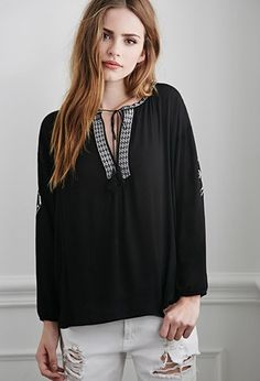 Embroidered Peasant Top | Forever 21 - 2002247800