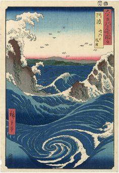 Utagawa Hiroshige, <em>Province Awa: Whirlpool at Naruto</em> (1853). Photo: Egenolf Gallery.