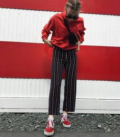 Brandy Melville   Brand   Clothes   Red Sweater   Striped Pants