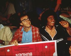 Woody Allen and Michael Jackson sit together at Studio 54 April, 1977 in New York City. Studio 54 was an icon of the disco era boasting famous celebrities and the best DJs until it's closing in 1979.