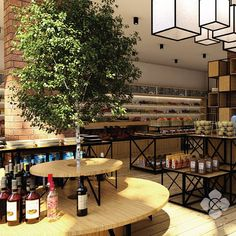 A country themed Interior design for Hermon Fresh Food Market. Wooden panels, brick, and decorative greens were put into the room to reinforce the feel of comfortable european traditional market design.  Designed by @culturainterior  #interior #interiordesign #freshfoodmarket #indoormarket #interiorindonesia #culturainterior