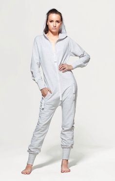 The OnePiece Fitted Light Grey Onesie in super soft luxury cotton is designed for both men and women. Our unisex adult jumpsuits are perfect for those lazy chill out days or for stepping out in. The OnePiece Onesie really is the ultimate in chill out wear, style and quality.  Jumpsuit with a great slim fit and stretch fabric on the sides 100% Cotton - Soft Lightweight fabric in 250gsm quality. Female model's height: 178cm/5'8