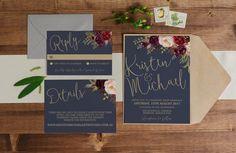 Printable Wedding Invitation // Wedding por TheSundaeCreative