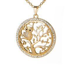 Online Shop Small Owl Necklace Tree Of Life Pendant Rose Gold Women Sweater Chain Crystal Long Necklaces & Pendants Statement Jewelry Bijoux Letter Pendant Necklace, Letter Pendants, Owl Pendant, Owl Necklace, Simple Necklace, Tree Of Life Necklace, Tree Of Life Pendant, Owl Jewelry, Owls