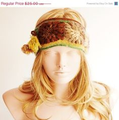 ON SALE Forest Headband Winter Headband Colorful band by Periay, $18.75