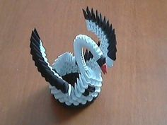 ▶ How to make 3d origami black and white small swan model1 - YouTube
