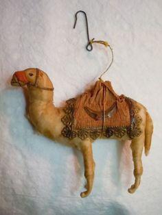 ANTIQUE VICTORIAN SPUN COTTON CAMEL CHRISTMAS ORNAMENT