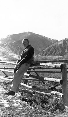 Ernest Hemingway at a ranch in Idaho, circa