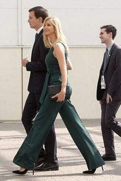 Ivanka Trump wearing Gabriela Hearst Lennox Belted Jumpsuit, Ivanka Trump Carra3 Pumps and Ivanka Trump Mara Cocktail Bag