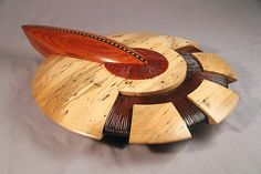 The Dial Jerry Cox 2011 Wood Sculpture Maple Bolivian Rosewood, paduke, Cherry