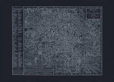 PARIS BLUEPRINT MAP Vintage Map of Paris by EncorePrintSociety