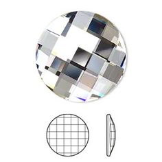 Embellishment, Swarovski crystal rhinestone, Crystal Passions, H20-5378CR, 30mm faceted chessboard round flat back (2035). Sold individually.