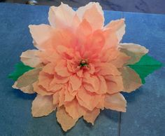 """X Large Mexican Crepe Paper Flower Autum Poinsettia 13"""" Diameter Christmas Decor Wall Hanging"""