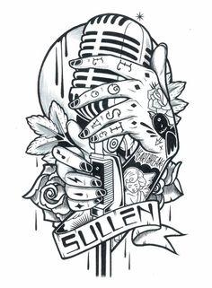 Ilustraciones de Adam Isaac Jackson Microphone Drawing, Microphone Tattoo, Tattoo Sketches, Tattoo Drawings, Art Drawings, Adam Isaac Jackson, 4 Tattoo, Tatuagem Old School, Desenho Tattoo