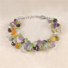 Embers Sterling Silver Double Strand Faceted Stone Bracelet. Lovely colours
