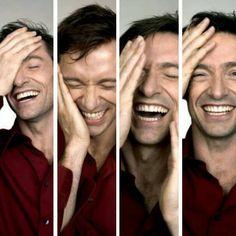 4 faces of Hugh Jackman laughing