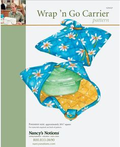 """WRAP'N GO CASSEROLE CARRIER. Pattern from Nancy's Notions. 7/8 yd main fabric. 5/8 yd lining fabric. 5/8 yd Insul-Bright. 2"""" D-rings or decorative rings. Finished square is about 20 1/2"""" square. Cut base fabric larger than lining & Insul-bright so you can do a fold-over binding. Make a fabric strap long enough to lay flat across diagonal of square and attach at the corners. Attach rings with tabs at the other 2 diagonal corners. That's it!"""