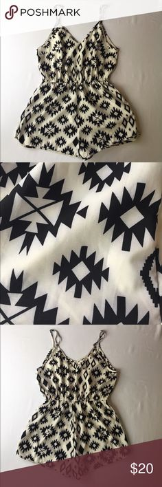 SALEBlack & White Aztec Romper, M This darling Black & White Aztec Romper, M can switch from day to night in no time. Wear this out during the day shopping with your ladies and add some heels, choker and earring and you have yourself a date night outfit  Sorry, no label or materials tag.  In EXCELLENT CONDITION, NO DEFECTS AND COEMS FROM A SMOKE/PET FREE HOME. Pants Jumpsuits & Rompers