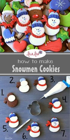 How to make snowman decorated sugar cookies for Christmas or winter - a cookie decorating tutorial. Easy Christmas Cookie Recipes, Christmas Sugar Cookies, Holiday Desserts, Holiday Cookies, Christmas Baking, Chewy Sugar Cookies, Royal Icing Cookies, Cupcake Cookies, Cupcakes