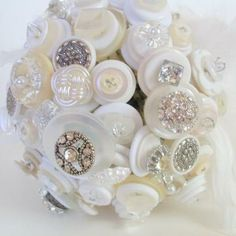 White Wedding Button Bouquet,  Alternative, Non traditional, Hollywood Glam style