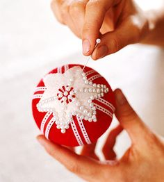 Sequin-Studded Ornaments....Forget the ribbon and just do Stars all over w/ Pearl Pins....