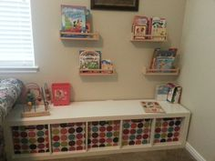 Spice rack as shelves as and bookshelf for toy storage and seating...