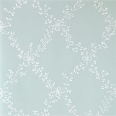 Toile Trellis (BP - Farrow Ball Wallpapers - A quiet nostalgic design featuring delicate leaf motifs and romantic bows. Showing in white on duck egg blue water based paints - more colours are available. Please request a sample for true colour match. Free Wallpaper Samples, Trellis Wallpaper, Trendy Wallpaper, Home Wallpaper, Blue Wallpapers, Pattern Wallpaper, Bedroom Wallpaper, Free Samples, Farrow Ball