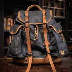 vintage-waxed-canvas-and-leather-rucksack-backpack-military-backpack-outdoors-backpack.jpg (960×960)