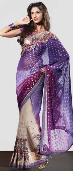 Buttery Cream Net Saree with Blouse Itemcode: SWS2881 Price: US$ 103.24 Click here to shop: http://www.utsavfashion.com/store/sarees-large.aspx?icode=sws2881