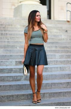 justtt bought a leather skirt alot like this! need ideas for what to wear for a top! i like this