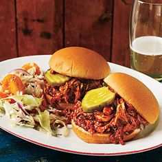 Barbecue Pulled Chicken Sliders | MyRecipes.com #myplate #protein #grain