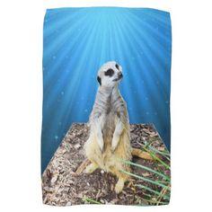 Blue Starry Moonlight Meerkat  Art Tea Towel - home decor design art diy cyo custom