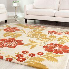 Safavieh Handmade Marrakesh Gardens Beige New Zealand Wool Rug (4' x 6') , Size 4' x 6' (Cotton, Floral)