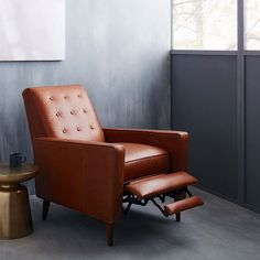 Rhys Mid-Century Leather Recliner, Saddle at West Elm - Chairs - Seating - Home Furniture